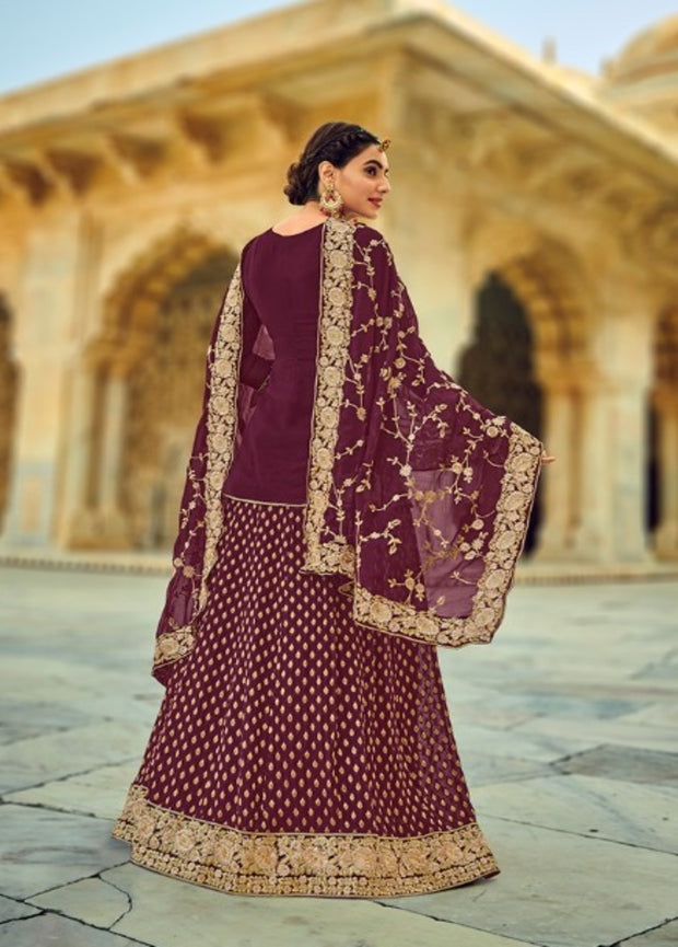Wine Partywear Long Blouse Lehenga Choli