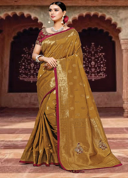 Brown designer party wear saree
