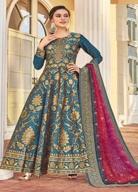 peacock blue anarkali suit