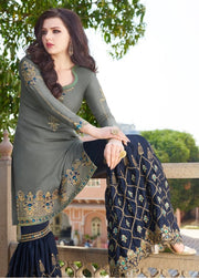 Grey And Navy Blue Partywear Sharara Suit