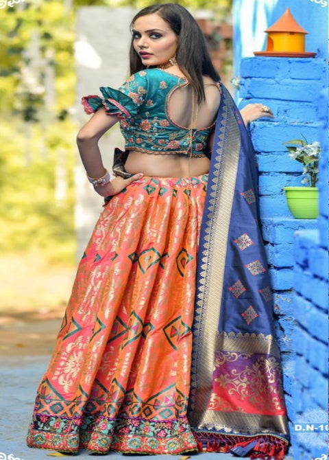 MULTICOLOR BANARASI SILK CHANIYA CHOLI