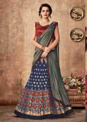 Blue Maroon Raw Silk Stone Embroidered Lehenga