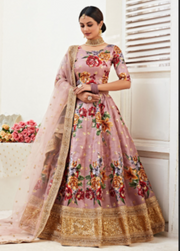 Rosy Brown Banglori Satin Digital Print Lehenga Choli