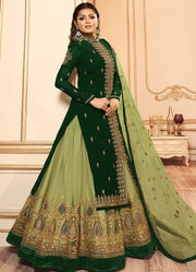 Green Embroidery Foux Georgette Lehenga Suit