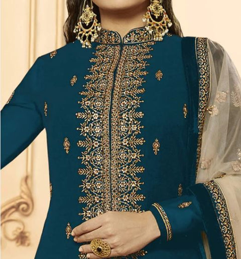 Rama Embroidery Foux Georgette Lehenga Suit