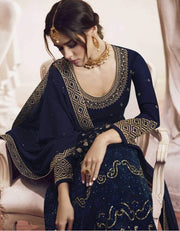 Dark Blue Embroidered Georgette Palazzo Salwar Suit