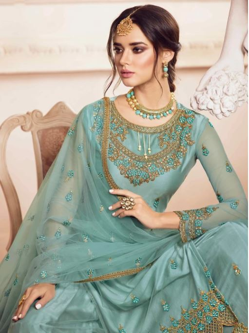 Sky Blue Embroidered Net Palazzo Salwar Suit