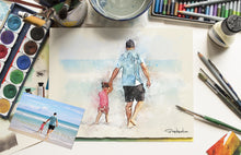 Load image into Gallery viewer, custom portrait family watercolor art