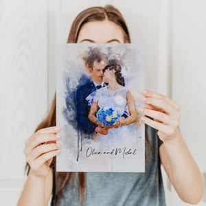 watercolor wedding portraits