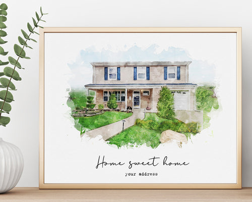 Home portrait Custom watercolor