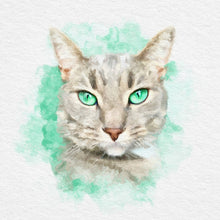 Load image into Gallery viewer, Watercolor custom cat portraits