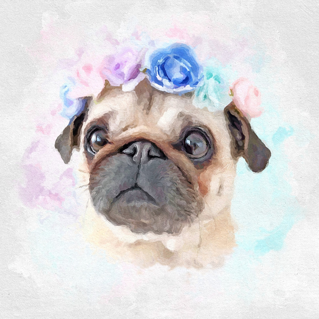 custom pug pet portrait