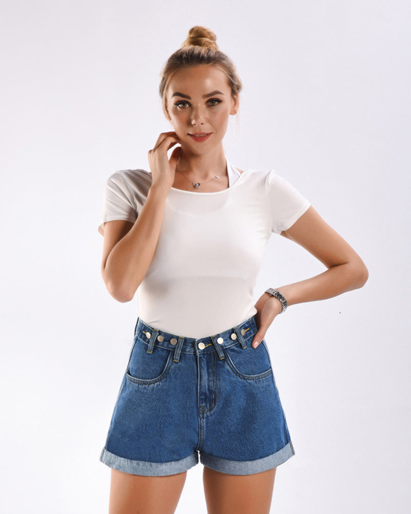 Metal Button High-waisted Jean Shorts