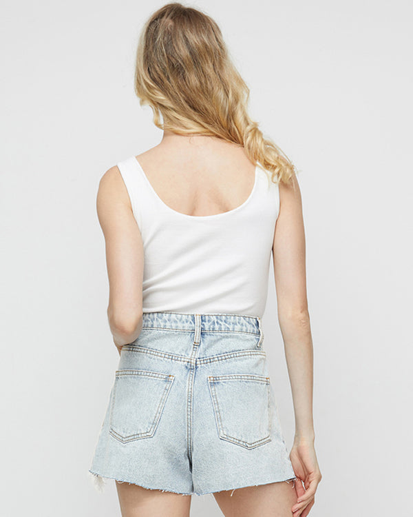 Irregular Burr Jean shorts