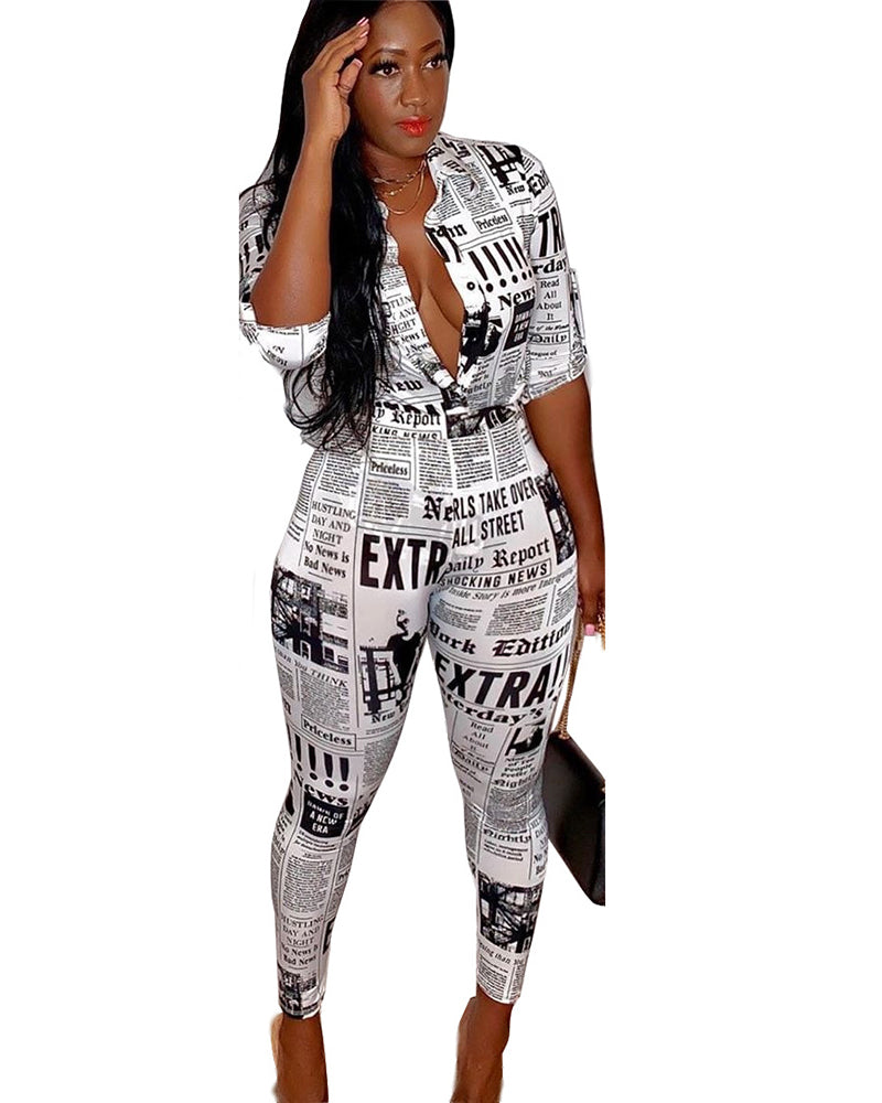 Newspaper print shirt set