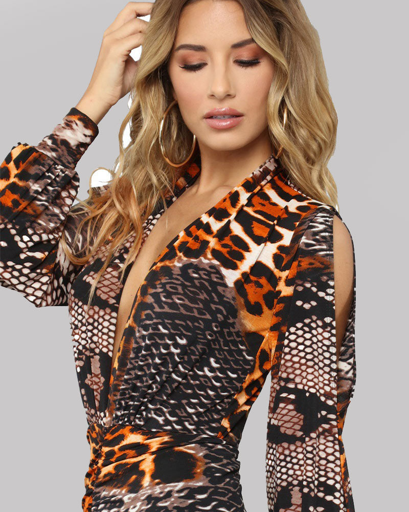 Down For Tonight Leopard Midi Dress