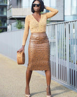 Pure Color Pellet Vegan Leather Skirt