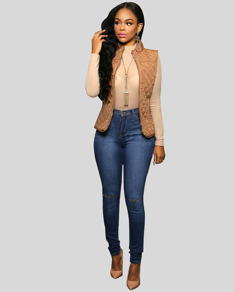 Kenya Medium Blue Denim Cut-Out Knees Jeans