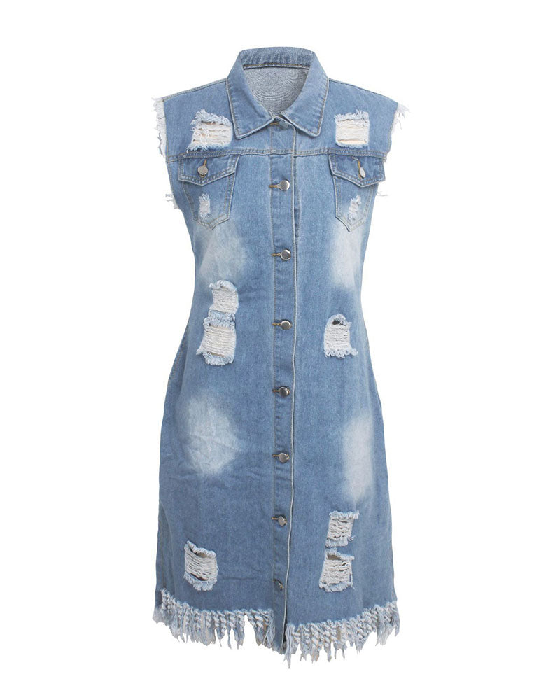 Light Blue Distressed Back Vest