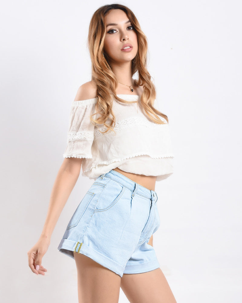 Light Blue Wide-leg jean shorts