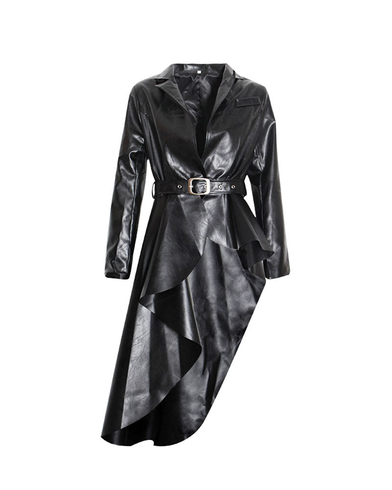 Congac Leather Hi Lo Peplum Jacket