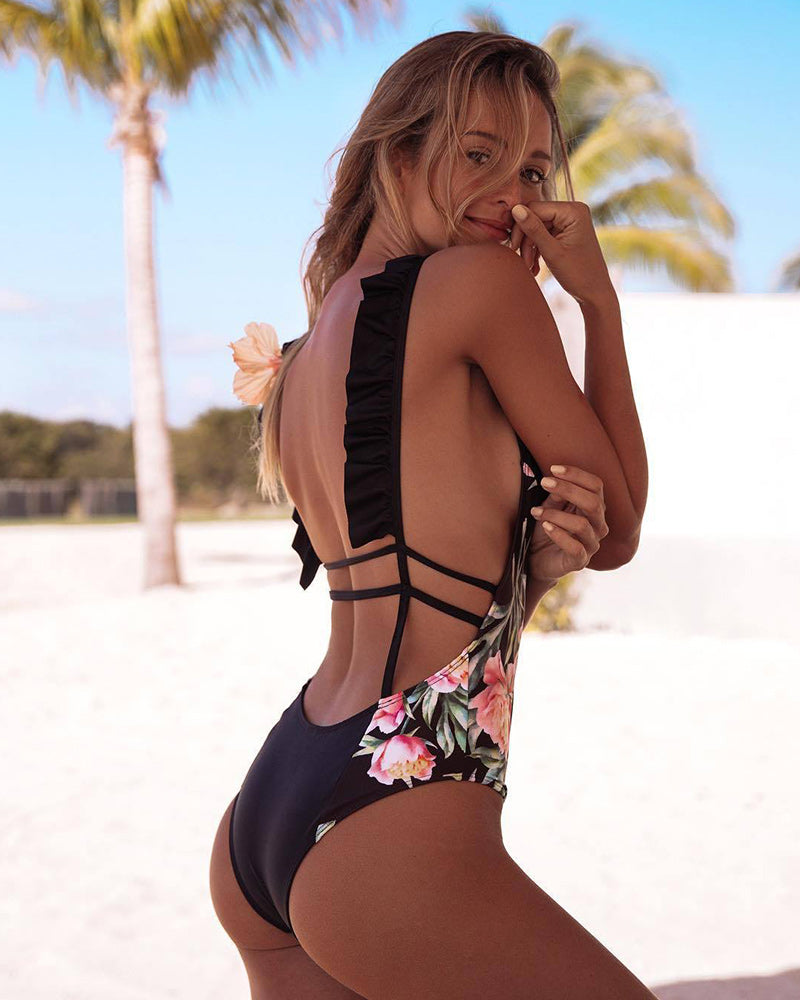 Flower splicing Swimsuit