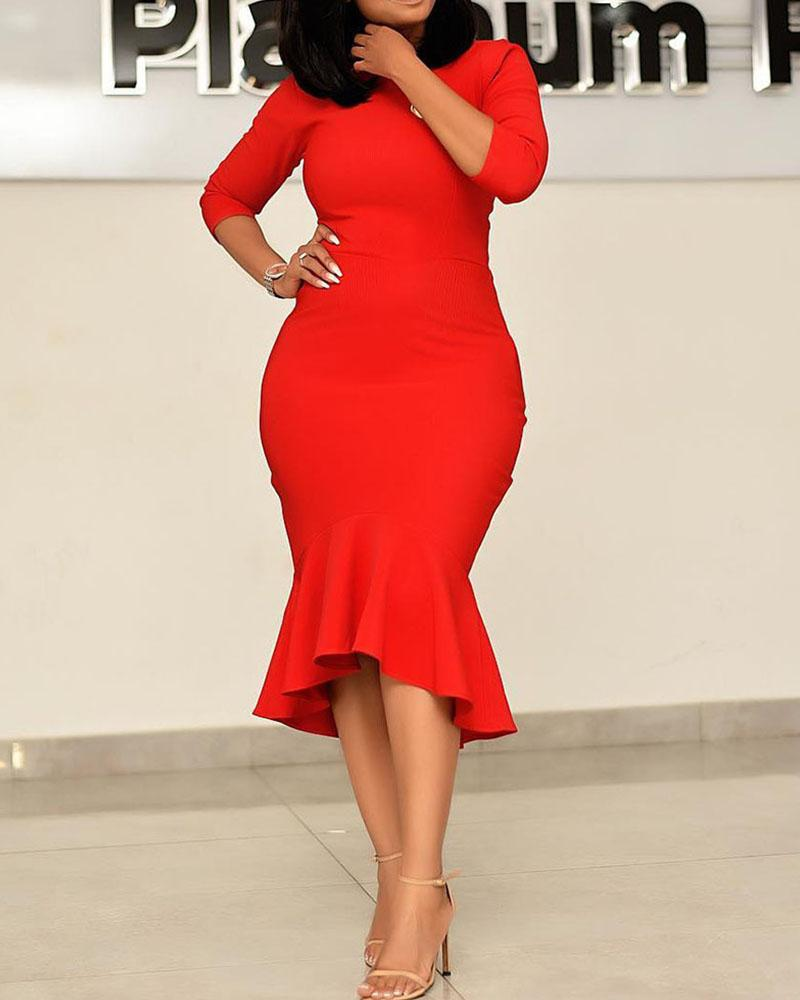 High Waist Bodycon Fishtail Midi Dress