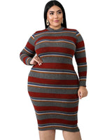 Plus Multi Stripe Round Neck Sweater Dress
