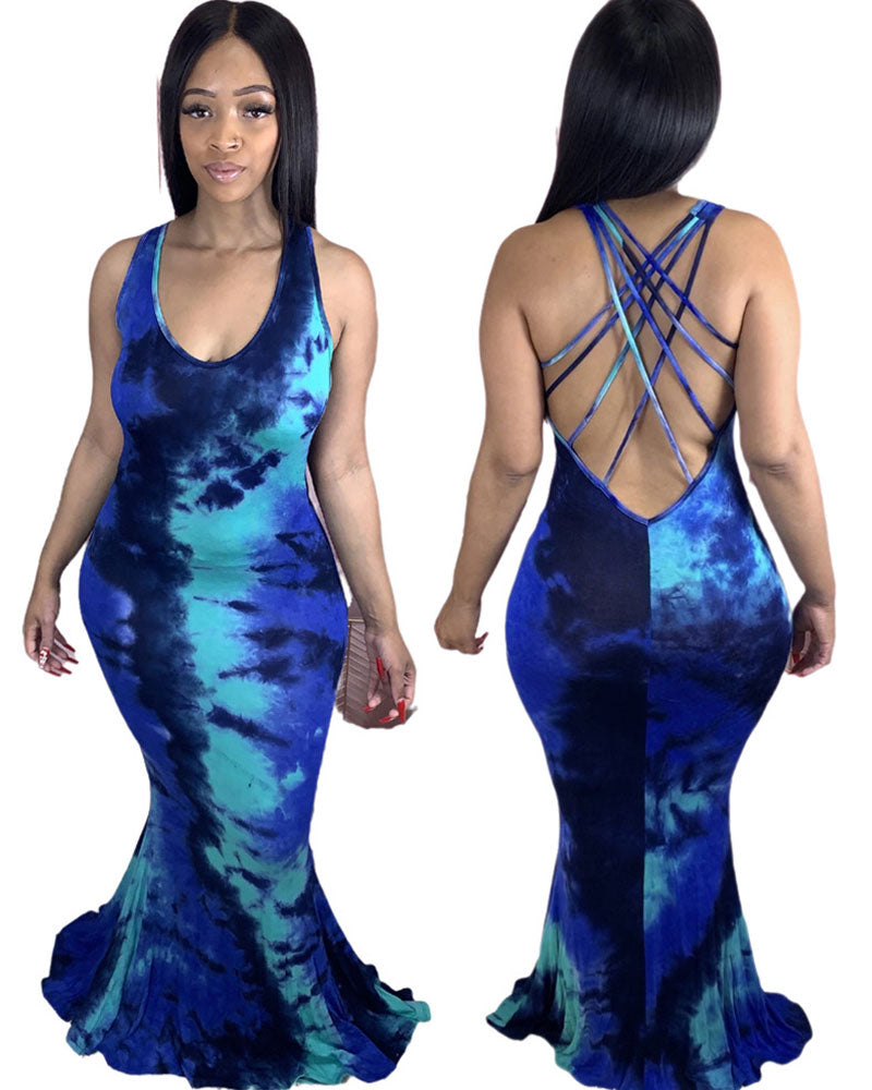 Fish swim maxi dress