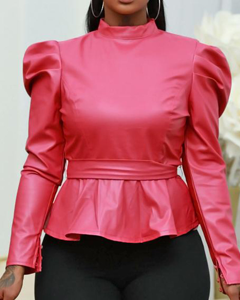 DOLLY FAUX LEATHER TOP