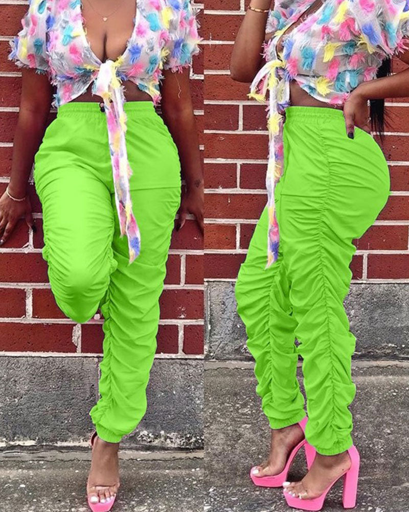 Multicolor ruched pants