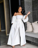 Fashion All White Off Shoulder Jumpsuit