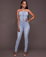 Lace-up Hollowed out Denim Jumpsuit