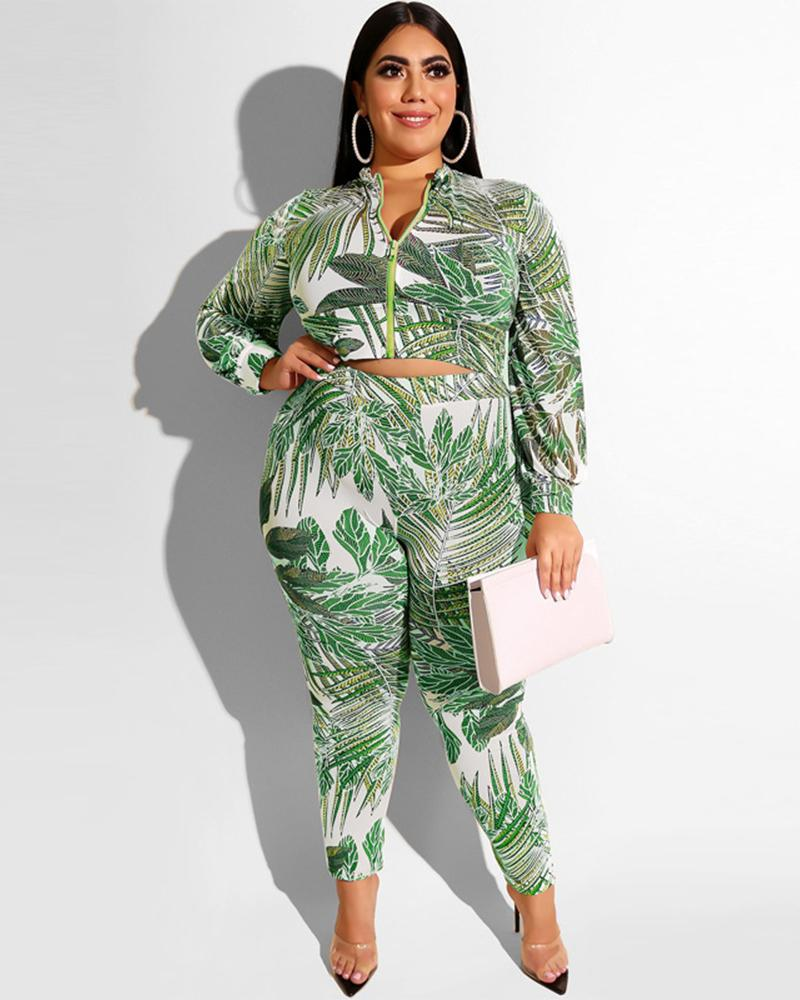 Plus Leaf Prints Zipper Two Piece Set