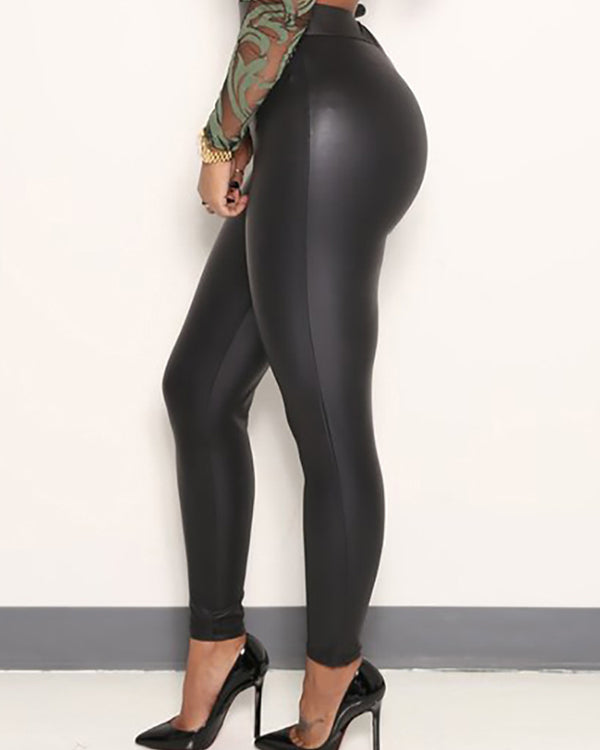 Caya Black Faux Leather Leggings