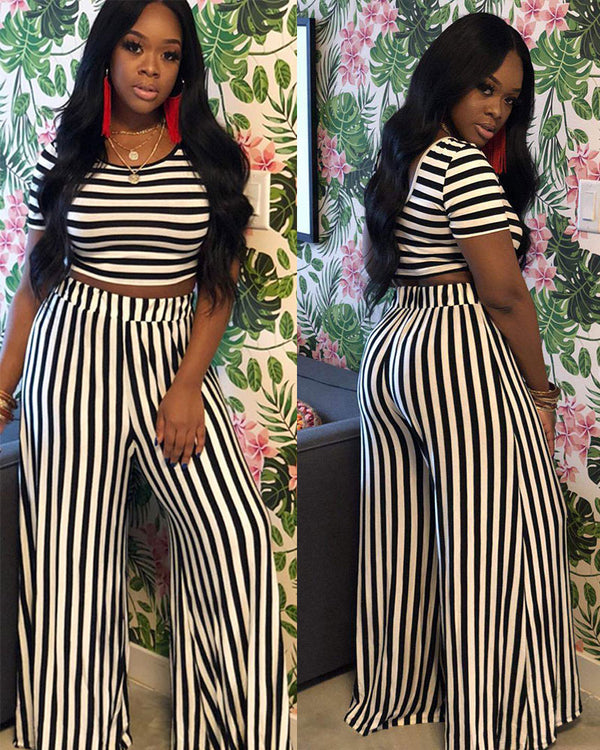 Classic striped two-piece set