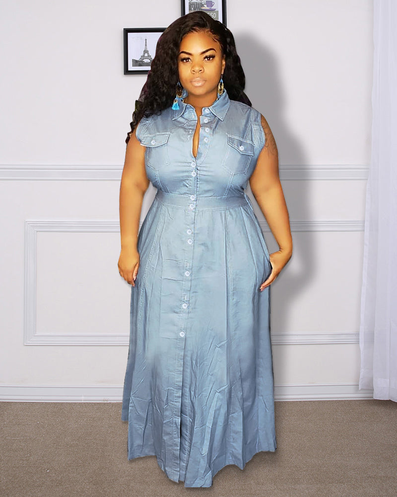 Obvious Attraction Denim Dress-LIGHT BLUE