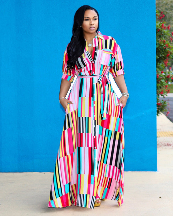 Plus What We Felt Stripe Print Maxi Dress