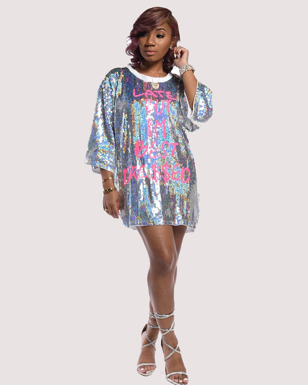 SEQUINS SHIRT DRESS