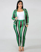 Plus Green Stripe Two Piece Set
