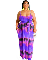Plus Tie Dye Spaghetti Strap Maxi Dress
