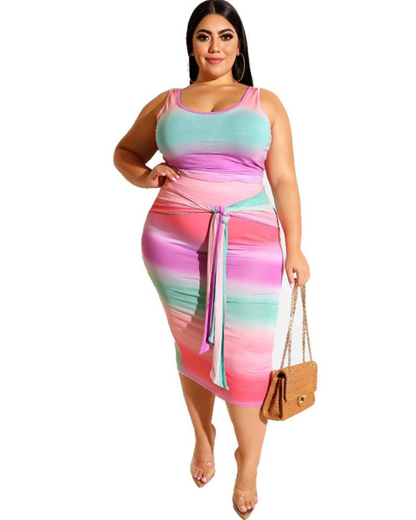 Plus Striped Belted Midi Dress