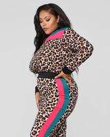 Plus Leopard Print Pink & Blue Stripe Two Piece Suit