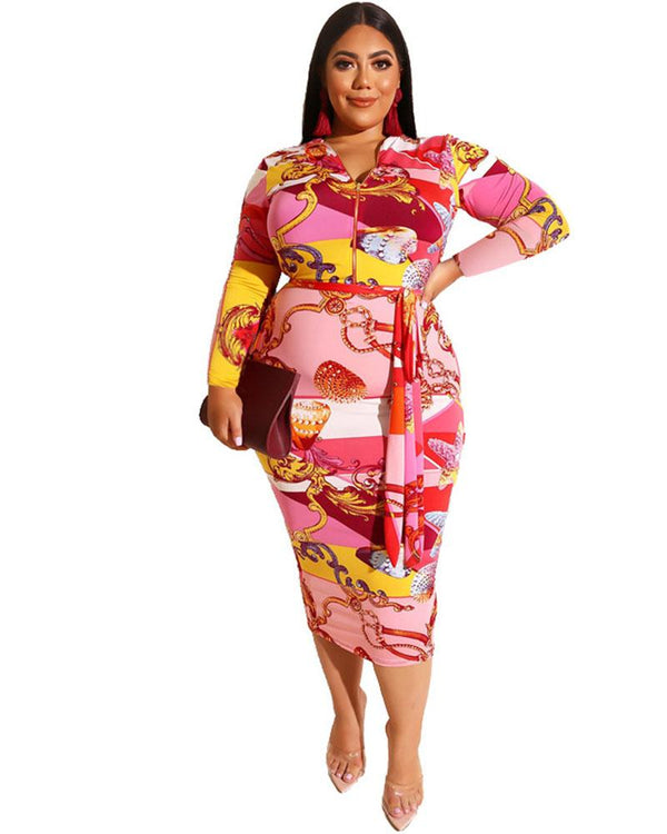 Plus Zipper Front Floral Midi Dress