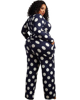 Plus Wave Point Print Jumpsuit