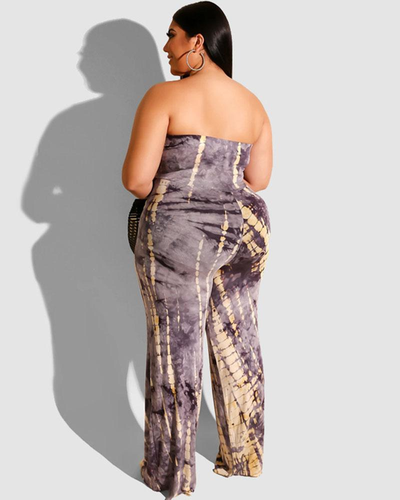 Plus Tie Dye Strapless Jumpsuit