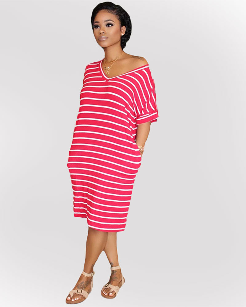 Sway With The Wind Striped Midi Dress