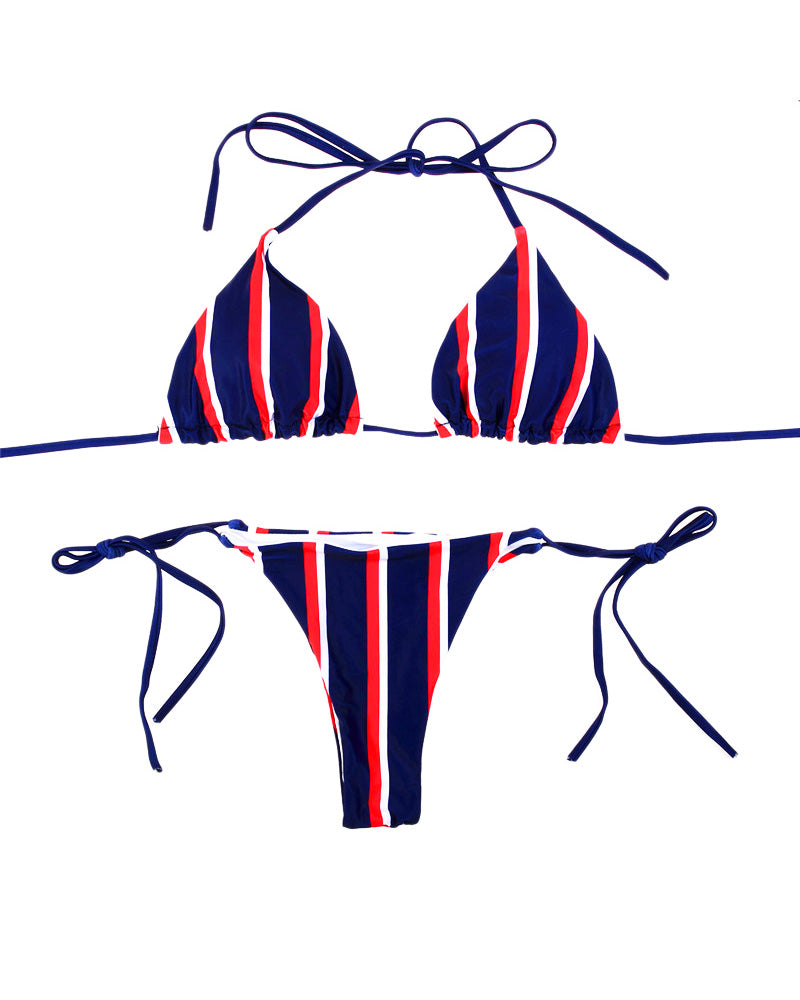 Keep Confident BLUE And White Stripe Bikini