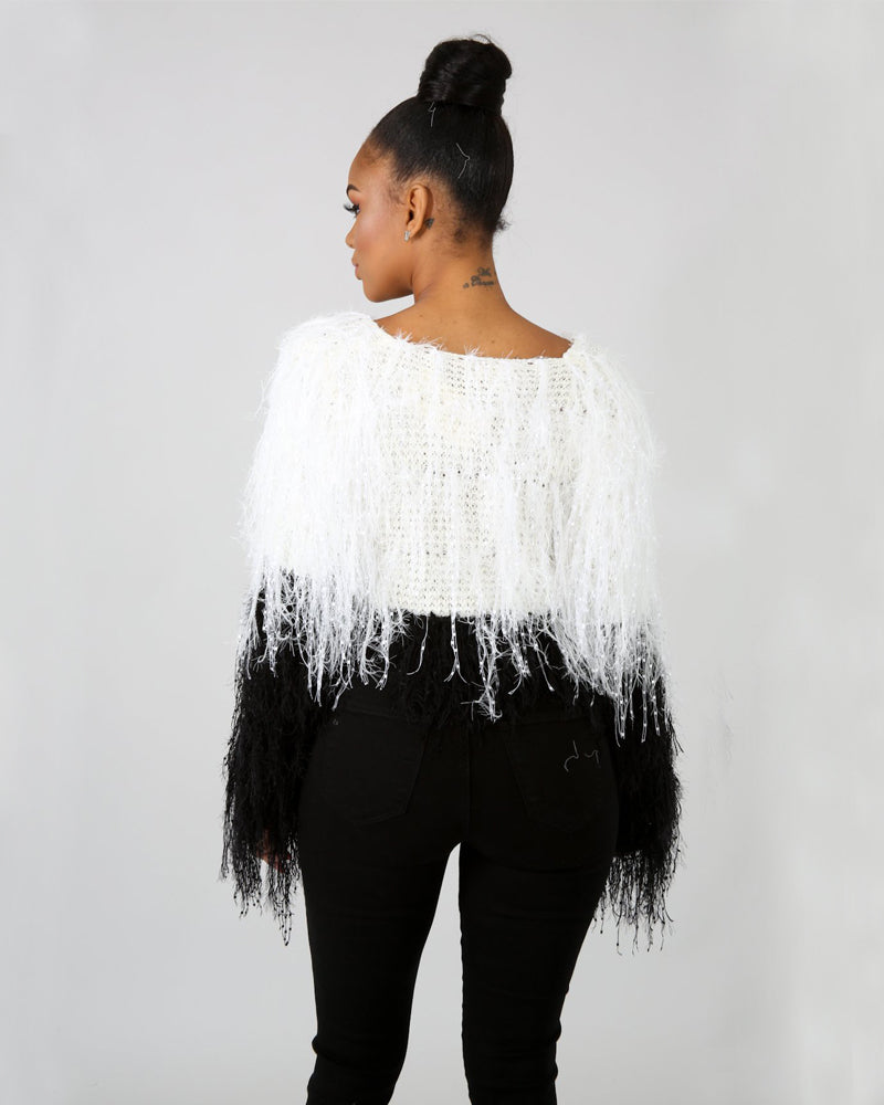 OUT OF TOWN SHAGGY KNIT SWEATER TOP