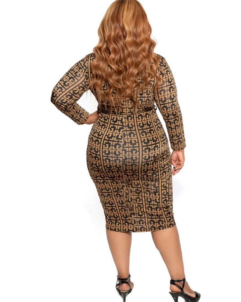 Plus Zipper Front Bodycon Dress